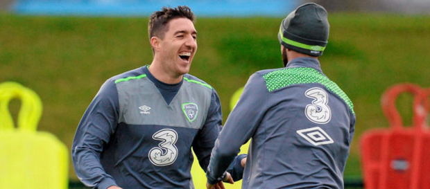 9 November 2015; Republic of Ireland's Stephen Ward, left, and Marc Wilson, right, during squad training. Republic of Ireland Squad Training, National Sports Campus, Abbotstown, Co. Dublin. Picture credit: Seb Daly / SPORTSFILE