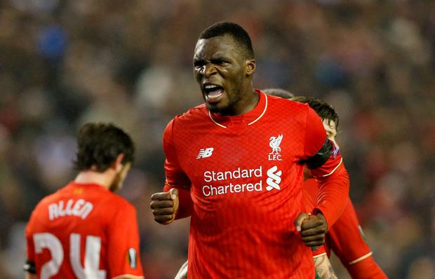 Christian Benteke celebrates his first-half goal which proved to be the winner