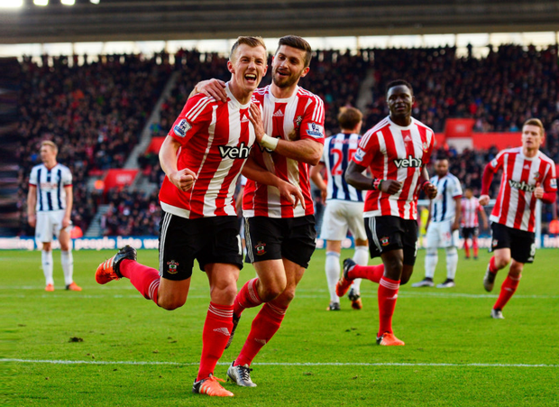 Southampton's Irish striker Shane Long celebrates with James Ward-Prowse, who hit the Saints' second goal in the Premier League win over West Bromwich Albion at St Mary's on Saturday.