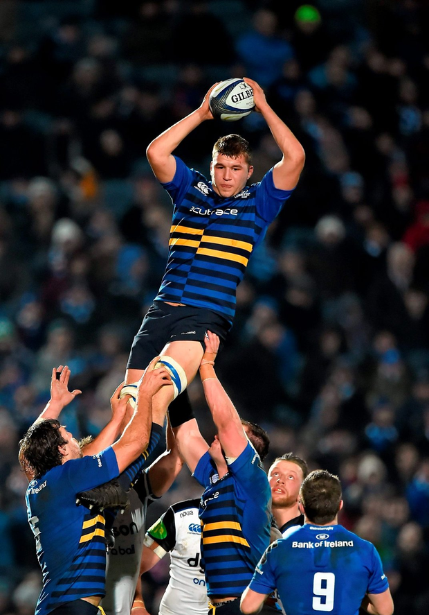 Leinster's Ross Molony wins a lineout in last weekend's European Champions Cup victory over Bath at the RDS Arena, Ballsbridge Photo: Sportsfile