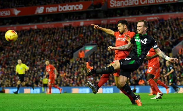 Glenn Whelan in action against Liverpool's Emre Can last Tuesday. Photo: Getty