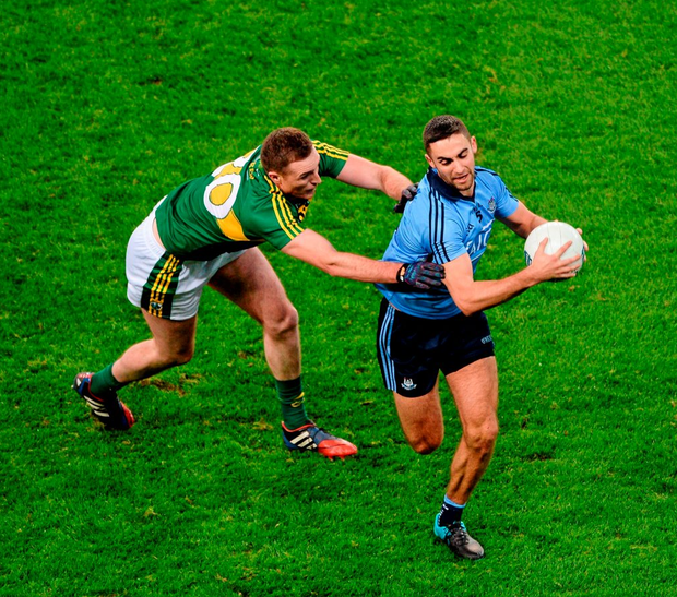 Dublin's James McCarthy evades Kerry's Brendan O'Sullivan in last Saturday's duel in Croke Park Photo: Sportsfile
