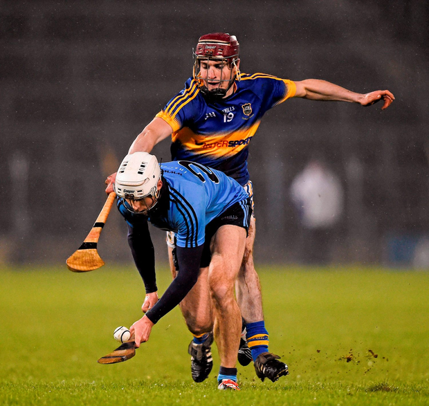 Dublin's Darragh O'Connell in action against Liam Ryan of Tipperary during the Allianz Hurling League, Division 1A match at Semple Stadium Photo: Sportsfile