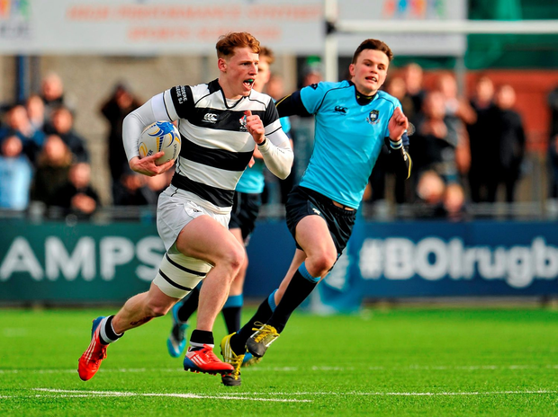 James McKeown of Belvedere College breaks away to score his third try of the game during yesterday's Leinster Schools Senior Cup semi-final at Donnybrook Photo: Sportsfile