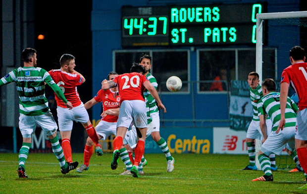 St Patrick's Athletic's Billy Dennehy (20) scores his side's first goal against Shamrock Rovers during their SSE Airtricity League Premier Division match at Tallaght Stadium Photo: David Maher / SPORTSFILE