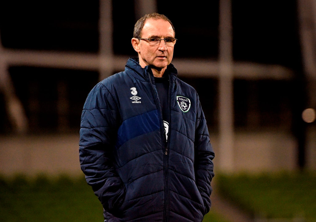 Republic of Ireland manager Martin O'Neill on the sideline at the Aviva Stadium on Friday night. Pics: Sportsfile