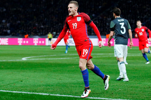 Jamie Vardy celebrates after scoring the second goal for England against Germany on Saturday Photo: Reuters
