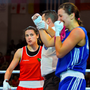 (l-r) Ireland's Katie Taylor is dejected after her Women's Lightweight 57-60kg semi-final defeat to Yana Alexseevna of Azerbaijan in the AIBA 2016 European Olympic qualification event in Samsun, Turkey Photo: Sportsfile