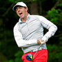 Rory McIlroy reacts after hitting his tee shot on the 12th hole during the first round of the Wells Fargo Championship at Quail Hollow Club. Pic: AP/Chuck Burton
