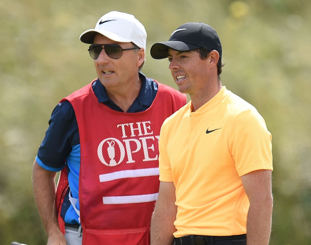 Northern Ireland's Rory McIlroy and his caddie JP Fitzgerald