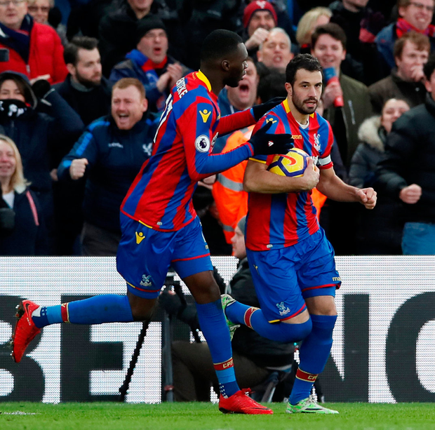 Palace's Luka Milivojevic celebrates his equaliser against Newcastle Photo: Reuters