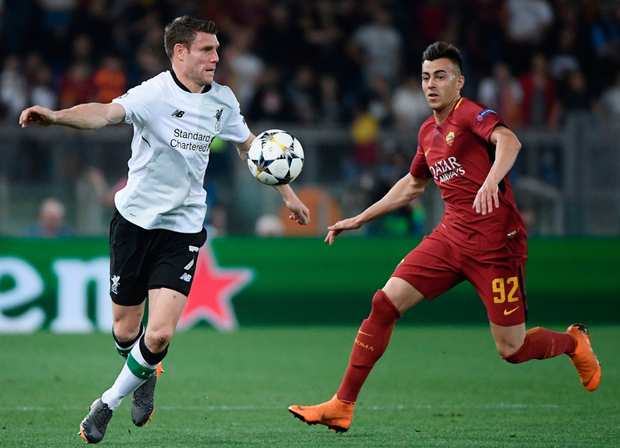 Crucial: James Milner, in action against Roma's Stephen El Shaarway, plugs so many gaps for Liverpool boss Jurgen Klopp