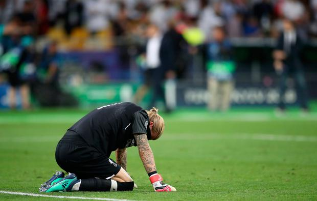 KAR' KRASH: Loris Karius couldn't hide his sense of humiliation after gifting Real Madrid two goals in the Champions League final. Photo: PA