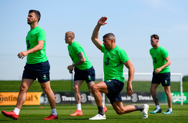 READY: Jon Walters (right) limbers up during training. Photo: SPORTSFILE