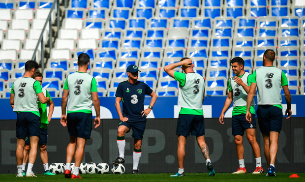 PUTTING IN THE HARD YARDS: Ireland assistant manager Roy Keane takes training at Stade de France in Paris ahead of this evening's international friendly against France. Photo: SPORTSFILE