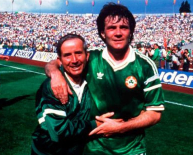 SHEER DELIGHT: Charlie O'Leary (left) celebrates with goalscorer Ray Houghton after Ireland's unforgettable 1-0 victory against England at the European Championships on June 12, 1988. Pics: Sportsfile