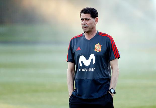 Fernando Hierro looks on during the Spain Training Session. Photo by Getty Images