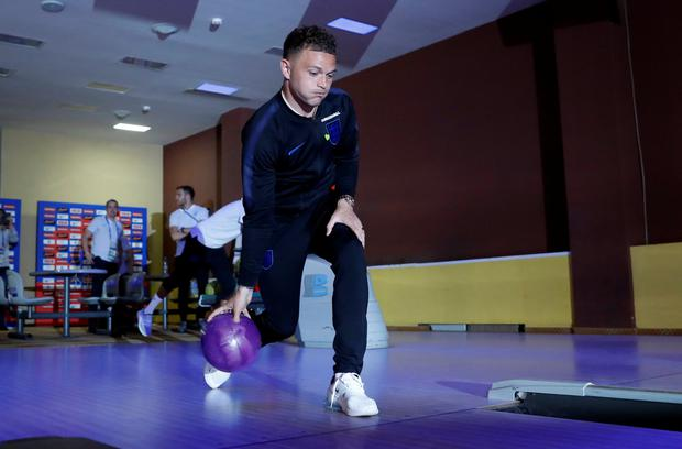DOWN TIME: England's Kieran Trippier is pictured at the bowling alley in England World Cup camp in Repino. Pic: Reuters