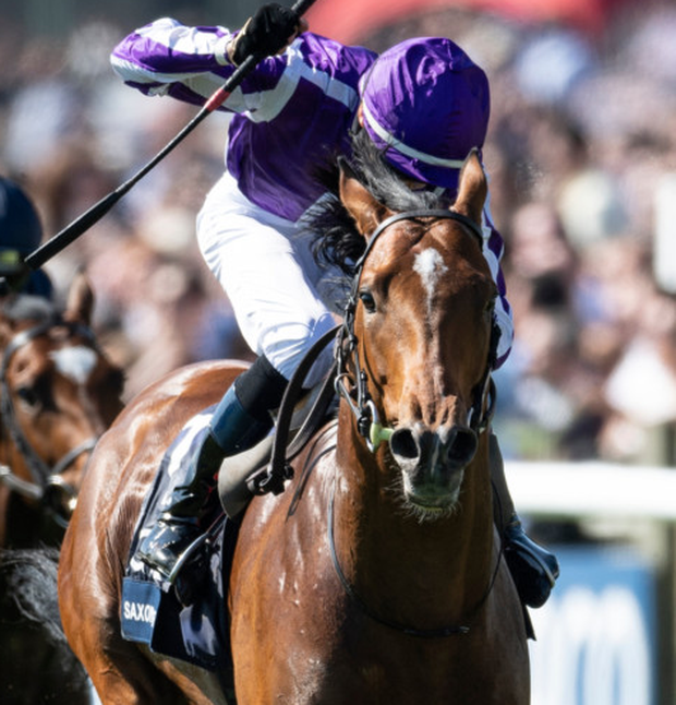 Saxon Warrior, with Donnacha O'Brien on board, wins the 2000 Guineas at Newmarket