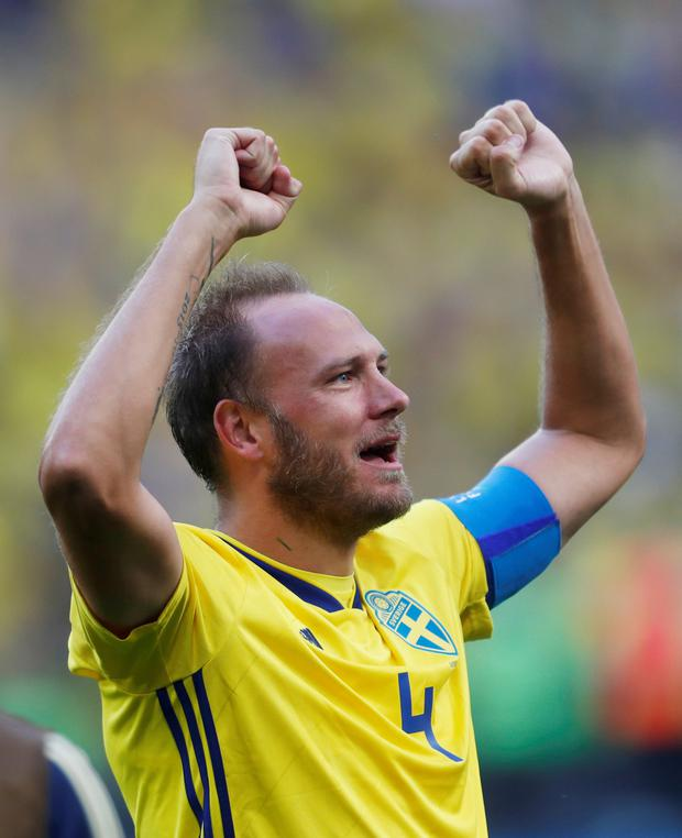 ON RED ALERT: Andreas Granqvist's wife is expecting. Pic: Reuters