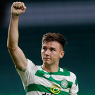 Job done: Celtic's Kieran Tierney salutes the fans after Wednesday evening's convincing victory against Alashkert at Celtic Park