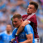 Dublin's Ciarán Kilkenny is tackled by Galway's Eoghan Kerin during Saturday's All- Ireland SFC semi-final clash at Croke Park