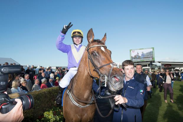 CLOSE CALL: Uradel is given the nod at Bellewstown today. Photo: Racing Post