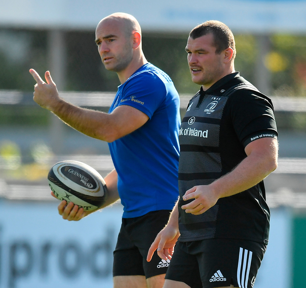 COMEBACK TRAIL: Jack McGrath with contact skills coach Hugh Hogan during Leinster training. Photo: Sportsfile
