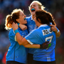 DELIGHT: Dublin's Sinéad Finnegan, Amy Connolly and Niamh Collins celebrate at the final whistle. Pics: Sportsfile