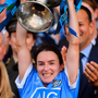 CHAMPS: Dublin captain Sinead Aherne lifts the Brendan Martin Cup at Croke Park yesterday. Photo: Sportsfile