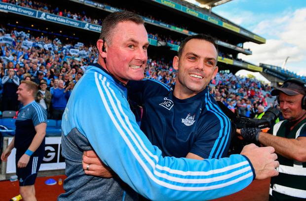JOB DONE: Dublin manager Mick Bohan (left) and defensive coach Paul Casey. Photo: SPORTSFILE