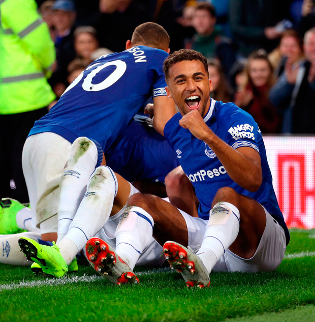 JOY: Everton's Dominic Calvert-Lewin (right) celebrates after Cenk Tosun (hidden) scores. Photo: PA
