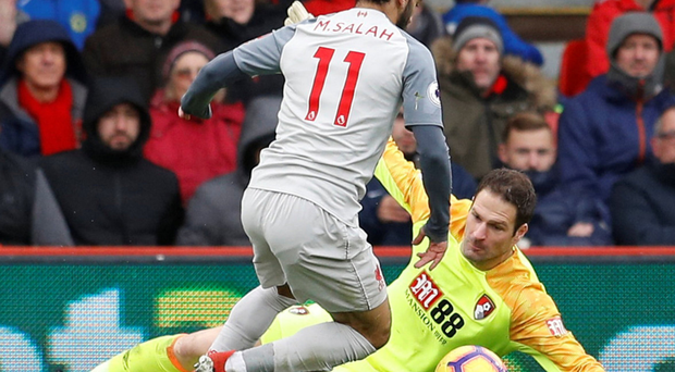 Salah leaves keeper Asmir Begovic grounded as he completes his hat-trick