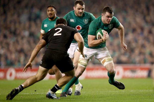 ON THE CHARGE: James Ryan of Ireland makes a break during the match against the All Blacks in November. Photo: Getty Images