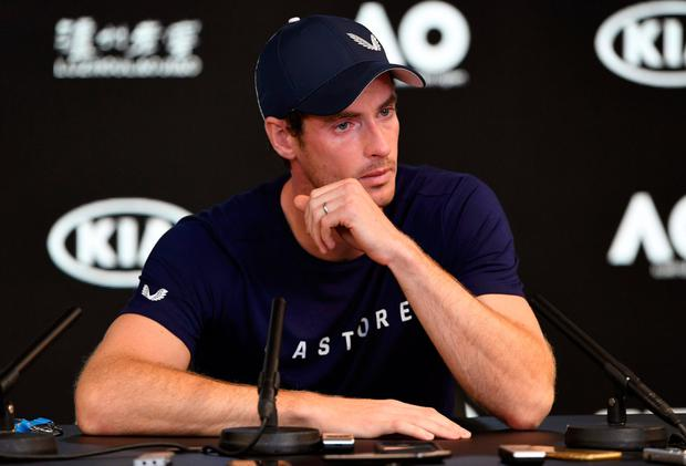 Andy Murray speaks to media during a press conference at the Australian Open in Melbourne yesterday