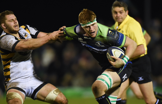 TOUGH OPPONENT: Thomas Young of Wasps (left) in action against Connacht's Sean O'Brien at the Sportsground