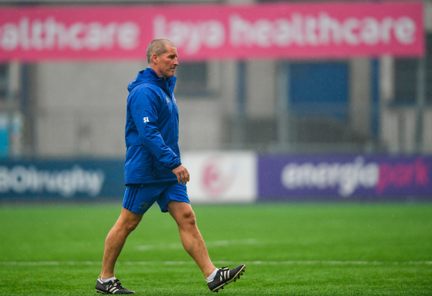 WARY: Senior coach Stuart Lancaster during Leinster squad training at Energia Park in Donnybrook. Photo: SPORTSFILE
