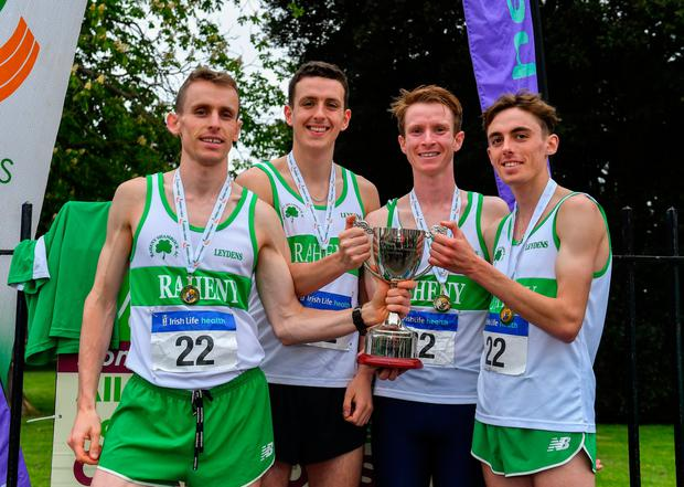 TOP PRIZE: (l-r) Raheny Shamrock's Kieran Kelly, Cillian Kirwan, Kevin Dooney, and Brian Fay, after winning the senior men's event during the AAI National Road Relays. Photo: SPORTSFILE