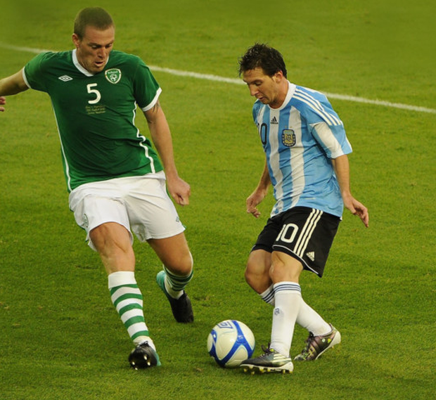 Richard Dunne in action for the Republic of Ireland against Lionel Messi of Argentina during an international friendly at the Aviva Stadium in August 2010. Pic: Sportsfile