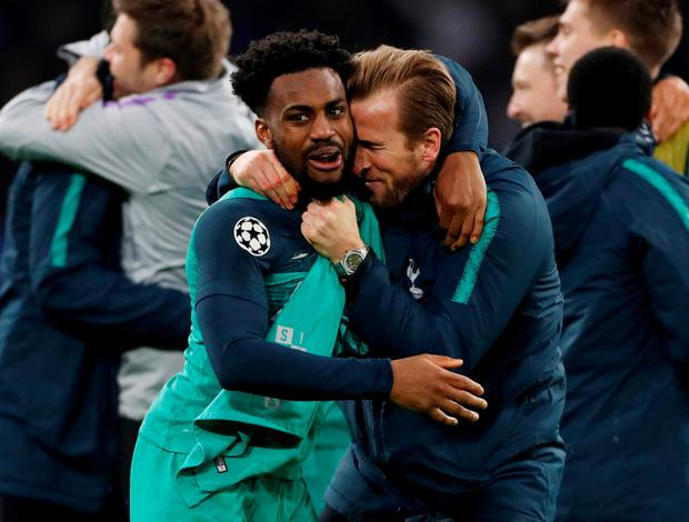 Harry Kane celebrates with Danny Rose after Tottenham's victory in Amsterdam. Photo: Action Images via Reuters
