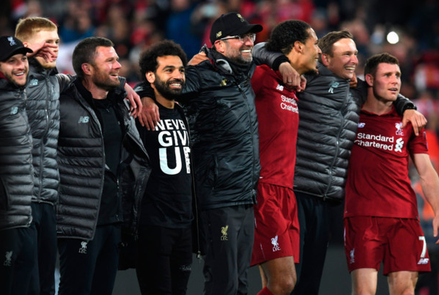 Liverpool players, and manager Jurgen Klopp, sing a rendition of 'You'll Never Walk Alone' with the fans in the Kop End after Tuesday's victory over Barcelona. Photo: AFP/Getty Images