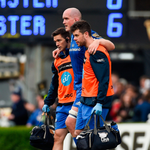 Devin Toner of Leinster leaves the field after picking up an injury during the Guinness PRO14 semi-final against Munster at the RDS