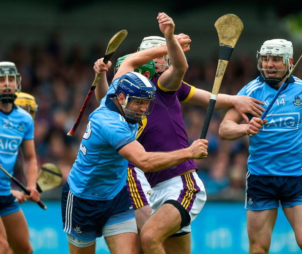 Conal Keaney of Dublin in action against Matthew O'Hanlon of Wexford during the Leinster SHC match at Parnell Park yesterday. Pic: Sportsfile