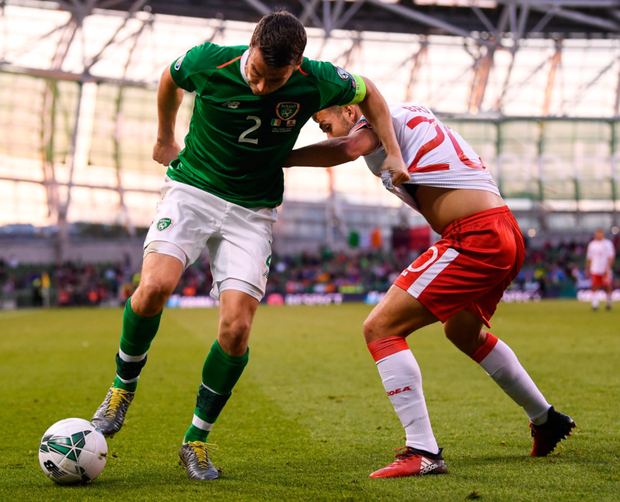 Seamus Coleman in action for Ireland against Gibraltar on Monday
