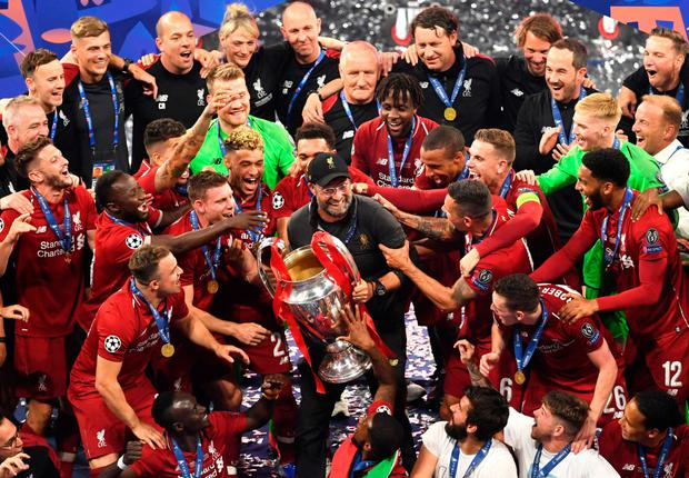 Liverpool with the Champions League trophy