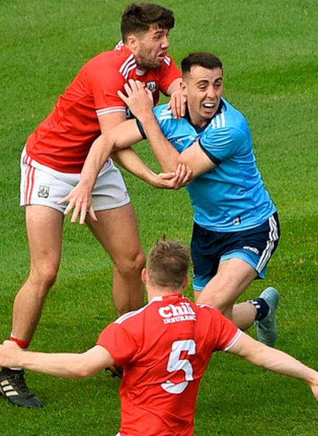 Cormac Costello in action for Dublin against Cork during the All-Ireland SFC quarter-final Phase 1 match at Croke Park.
