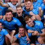 Dublin players celebrate after the EirGrid Leinster U20 Football Championship Final in Tullamore