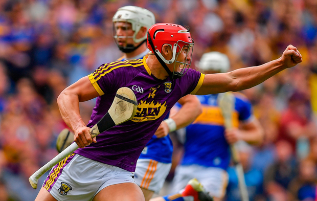 BOOST: Lee Chin of Wexford celebrates after scoring his side's second goal at Croke Park yesterday