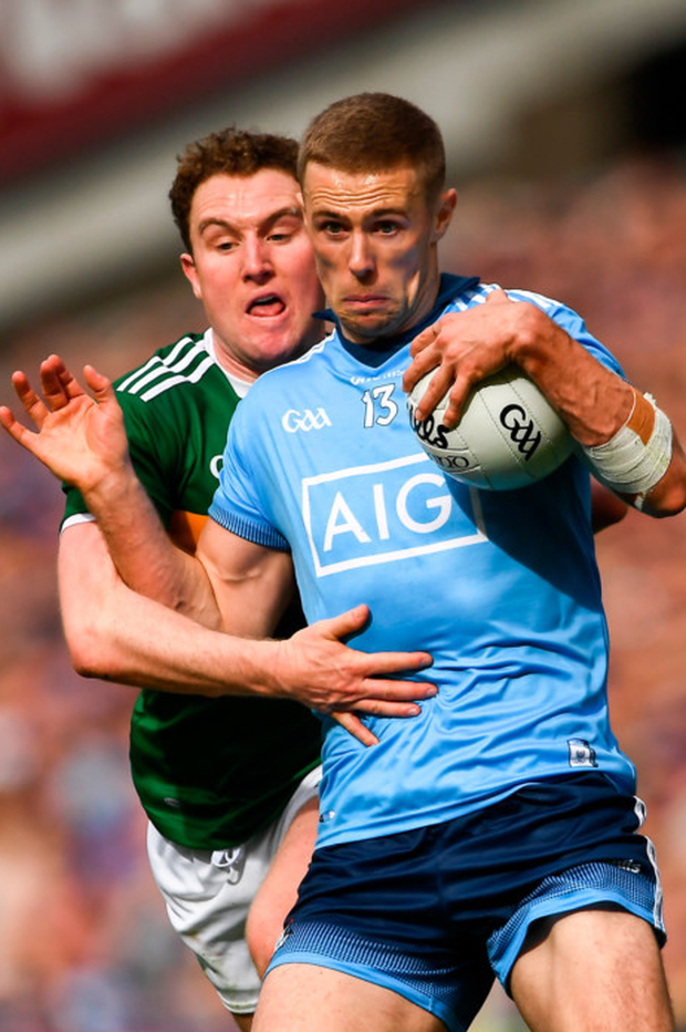 Dublin's Paul Mannion is well marshalled by Kerry's Tadhg Morley
