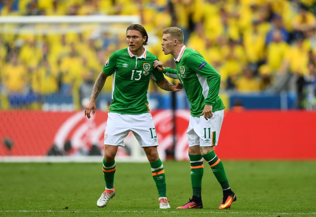 Ireland pair Jeff Hendrick (left) and James McClean during the Euro 2016 match against Sweden at Stade de France